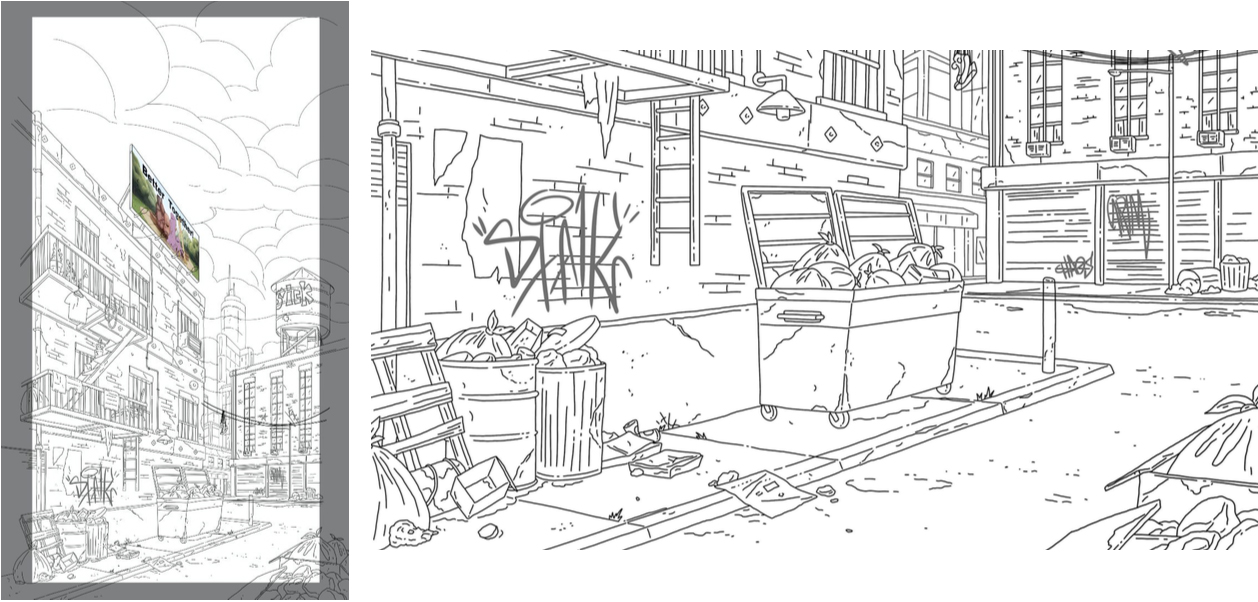 Line Drawing Layout of the City Scene