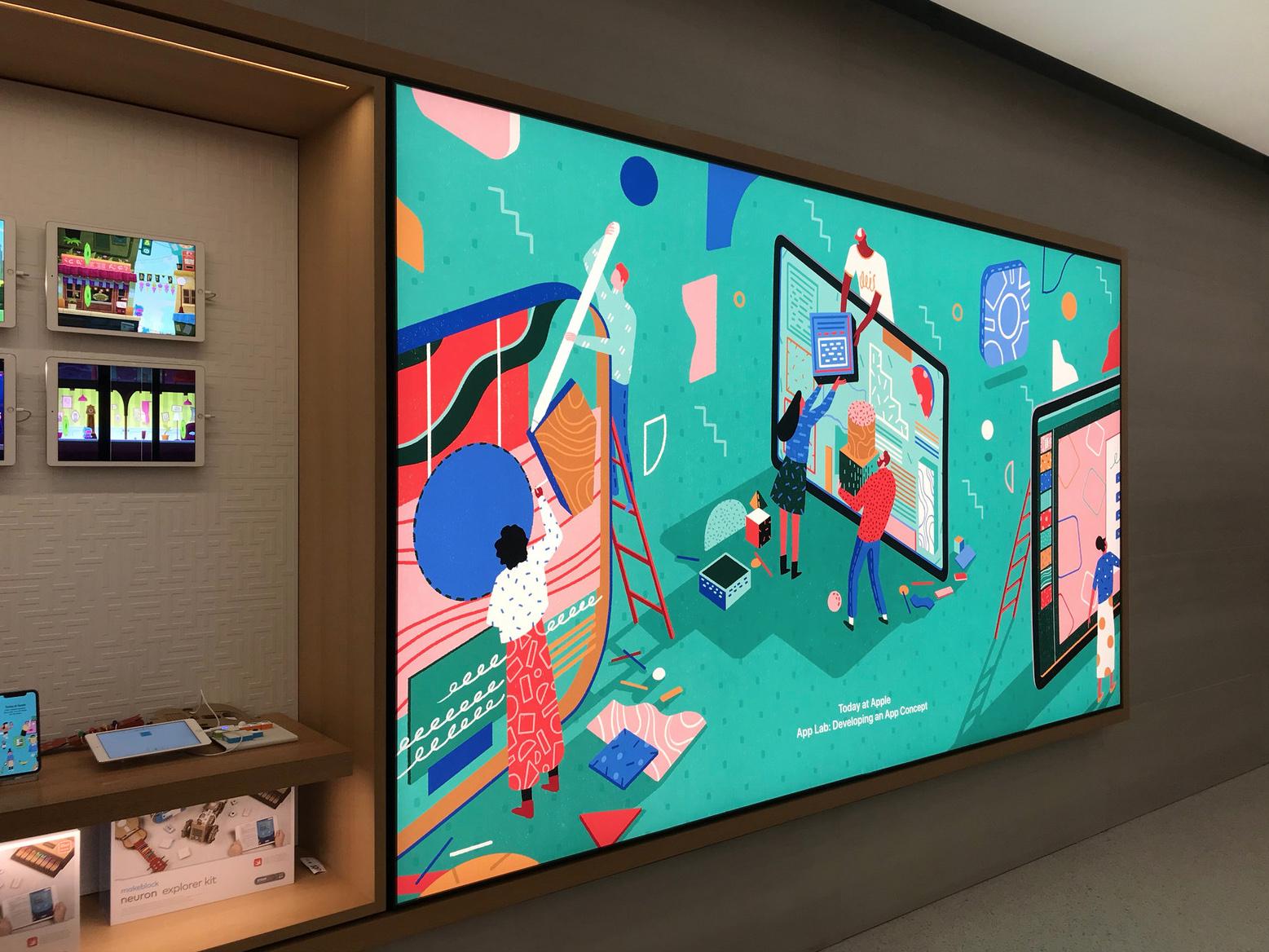 Yukai's illustrations on full display in London's Regent Street Apple Store.