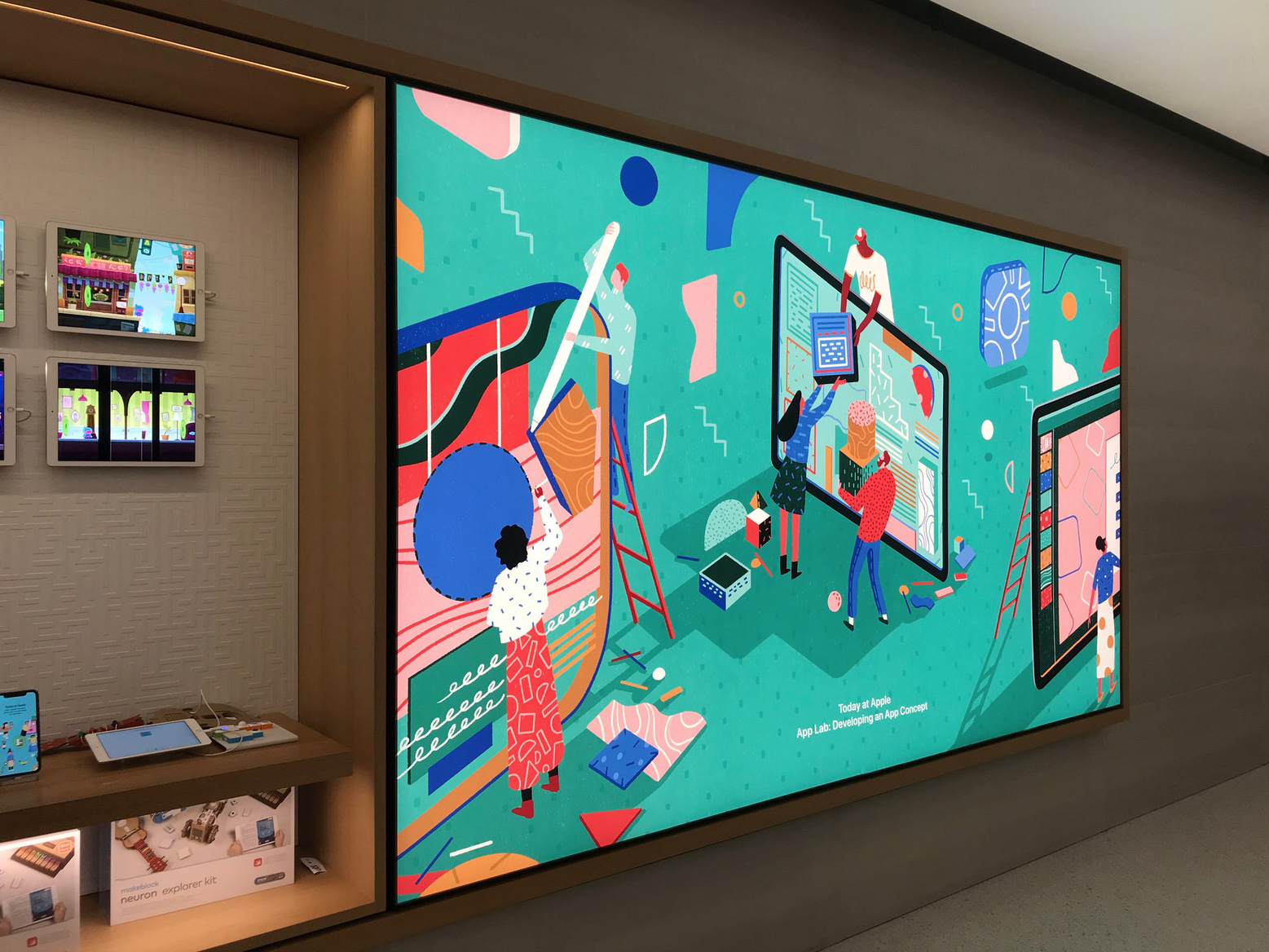 Yukai's illustrations on full display in London's Regent Street Apple Store.