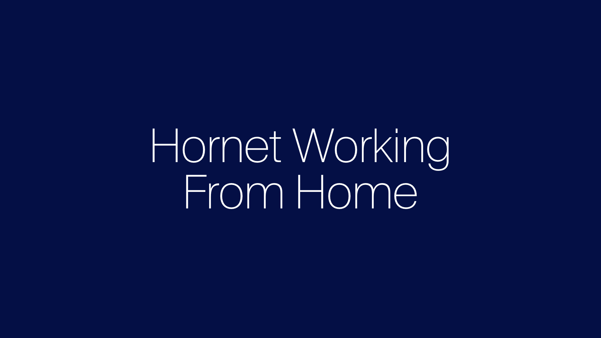 Update - Hornet working from home